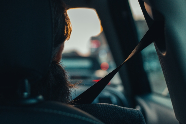 Car passenger with seatbelt, view from backseat